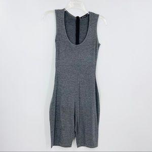 BOOHOO Gray Sleeveless Crewneck Jersey Bodysuit